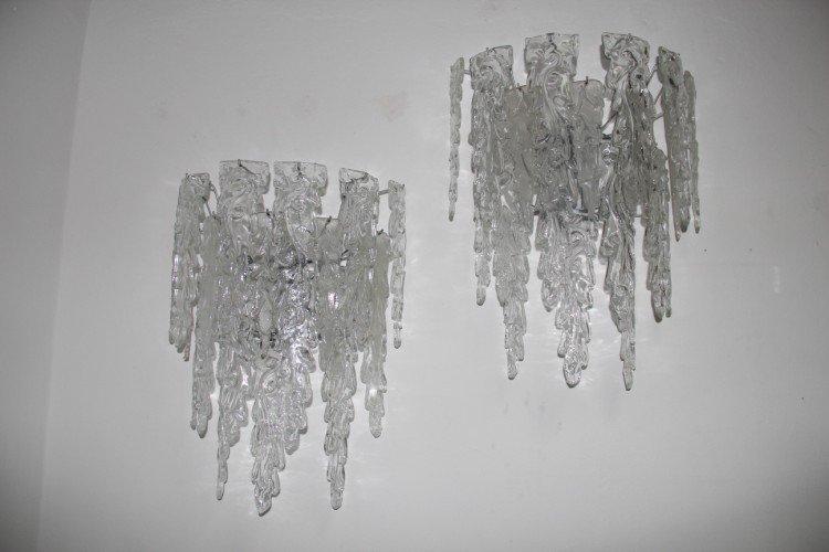 Große Glas Wandleuchter von Mazzega, 1970er, 2er Set