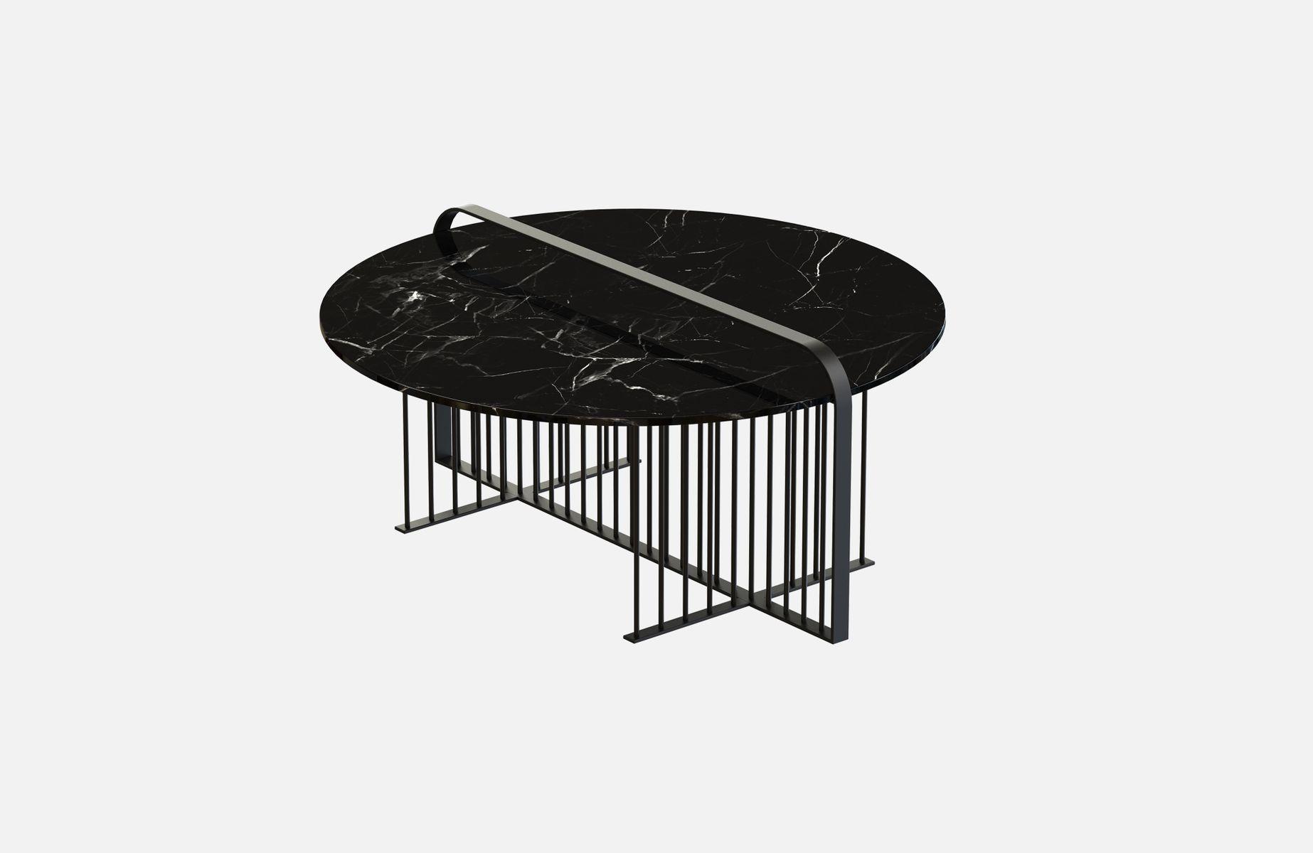 MEISTER Couchtisch aus pulverbeschichtetem Stahl & schwarzem Glas von ...