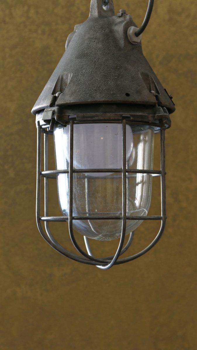 Industrielle Bunkerlampe mit Käfig von EOW, 1950er
