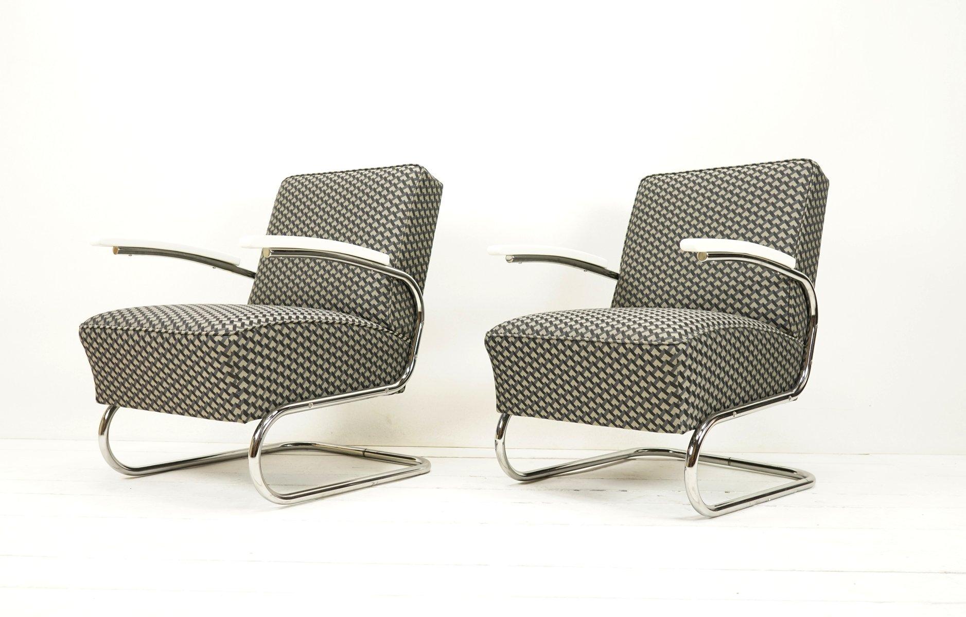 Freischwebender Vintage Sessel mit 3D Bauhaus Bezug von Mücke Melder