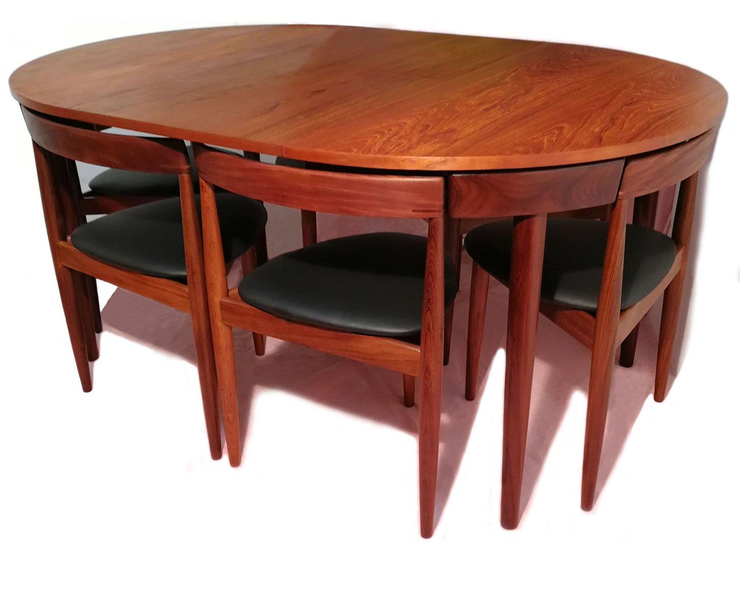 ausziehbarer esstisch mit sech st hlen von hans olsen f r frem rojle bei pamono kaufen. Black Bedroom Furniture Sets. Home Design Ideas