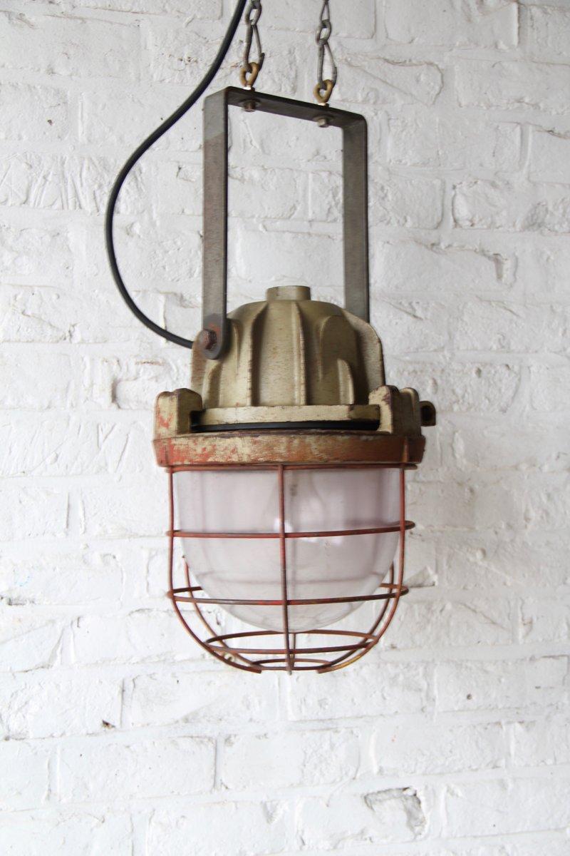 Industrielle Vintage Bunkerlampe von Mapelec