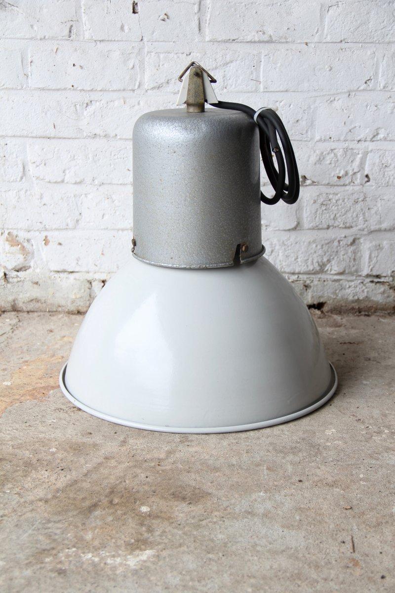 Französische Industrielle Emaille & Aluminium Fabriklampe