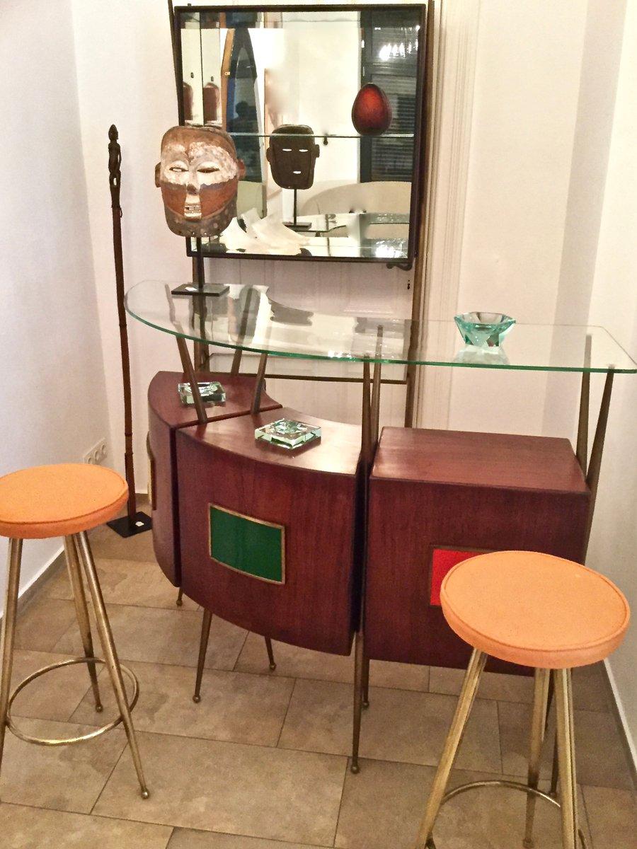 Bar meuble et 2 tabourets mid century italie