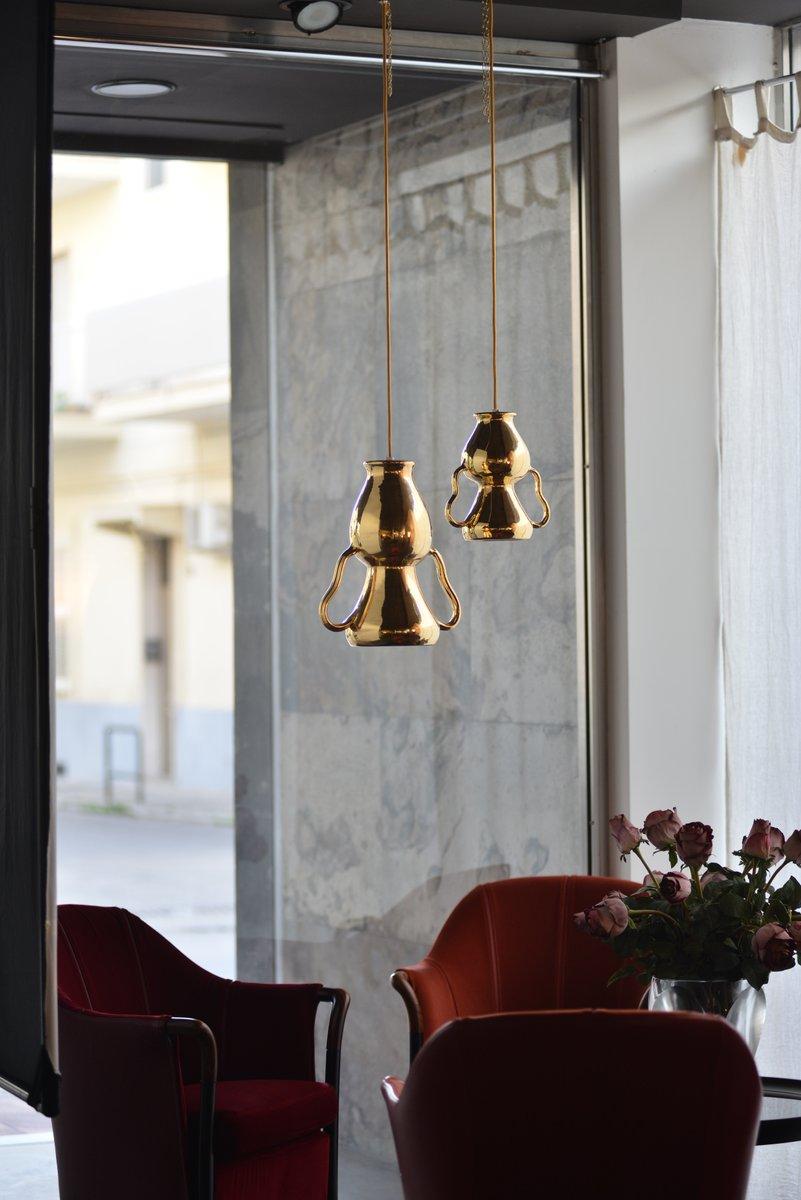 Lámparas colgantes doradas de Marco Rocco. Juego de 2 en venta en Pamono