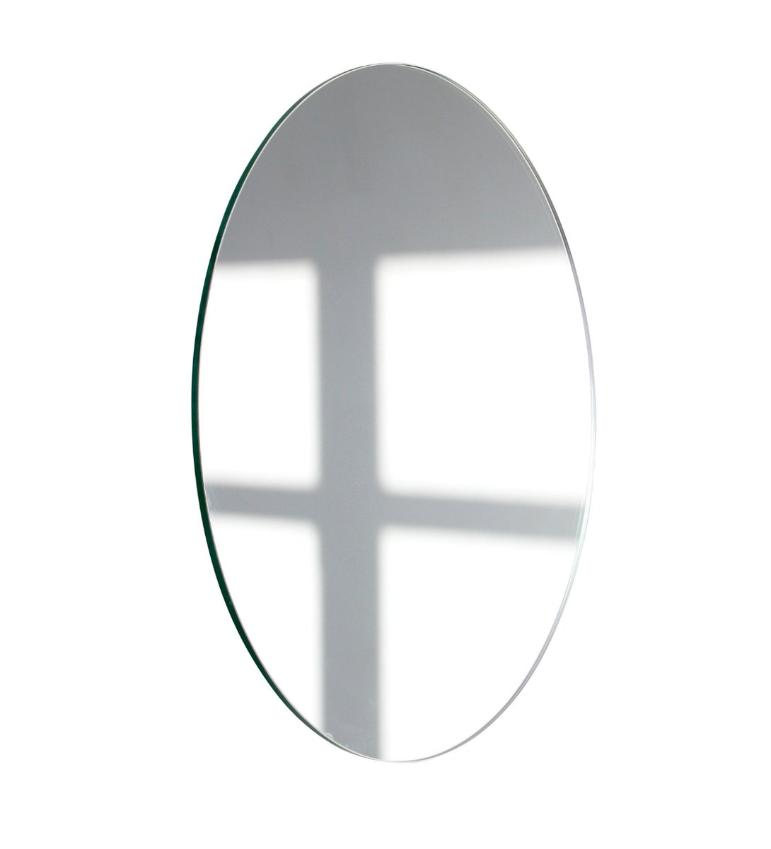 Extra Large Frameless Silver Orbis Round Mirror By
