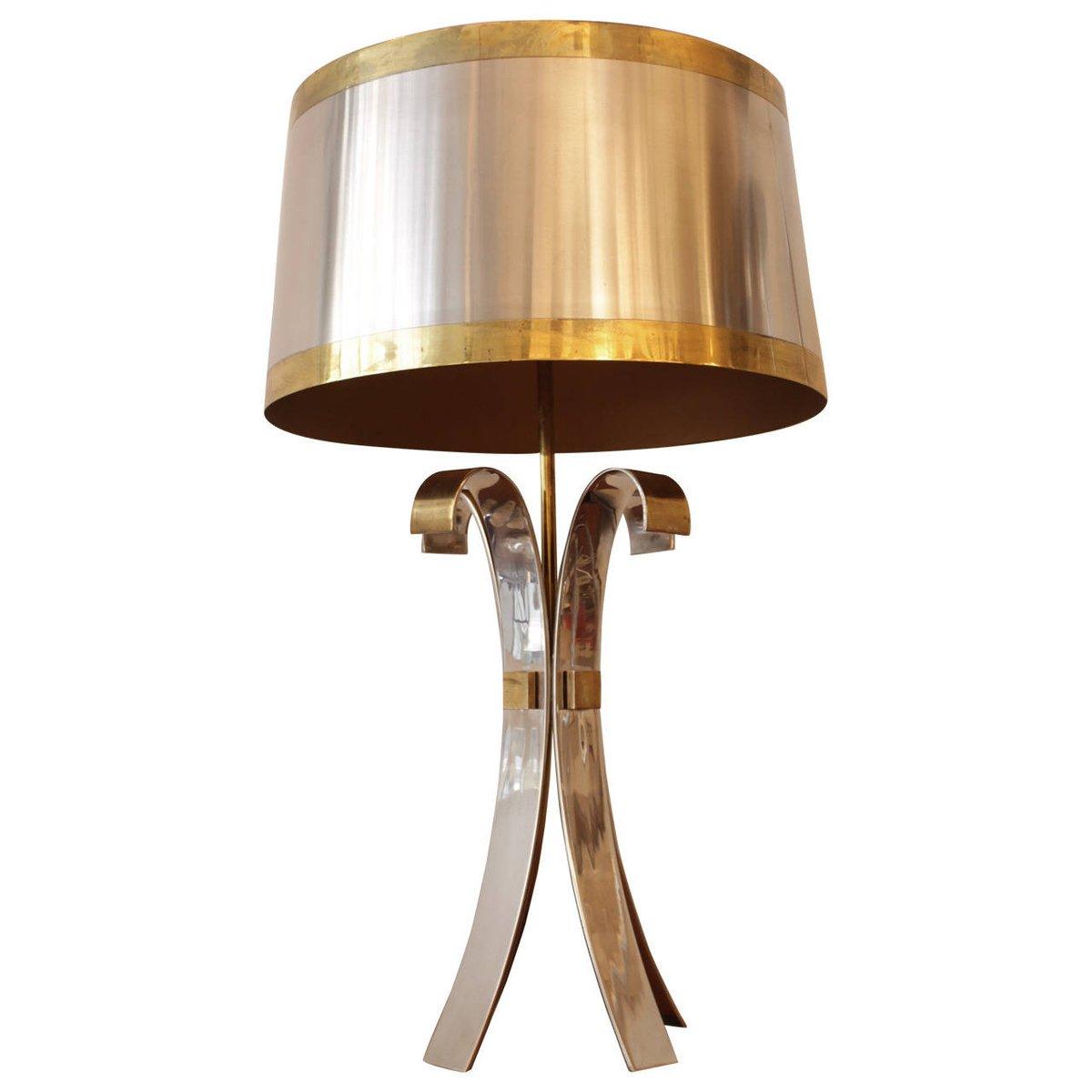 Tischlampe aus Messing & Verchromtem Stahl von Maison Charles, 1970er