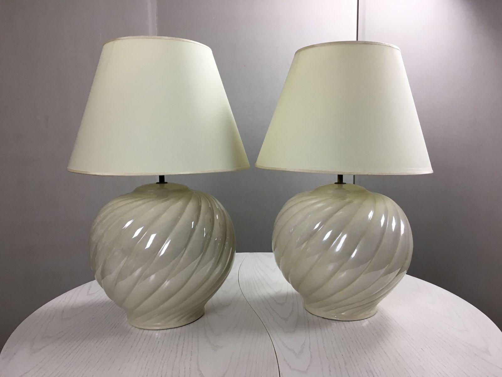 Vintage Keramik Tischlampen von Tommaso Barbi, 1970er, 2er Set