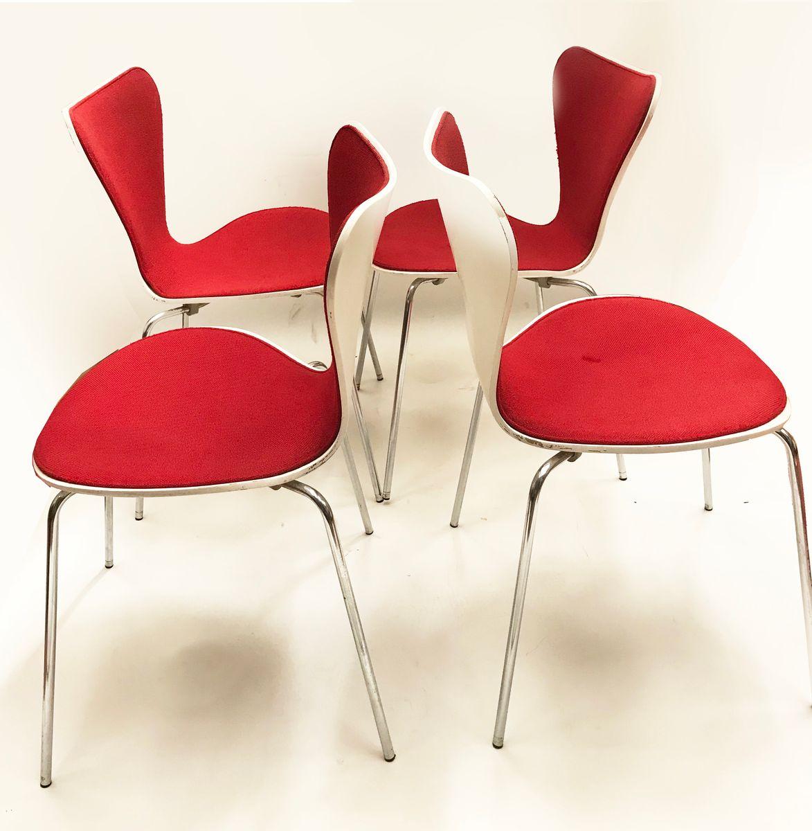 mid century series 7 st hle von arne jacobsen f r fritz hansen 4er set bei pamono kaufen. Black Bedroom Furniture Sets. Home Design Ideas