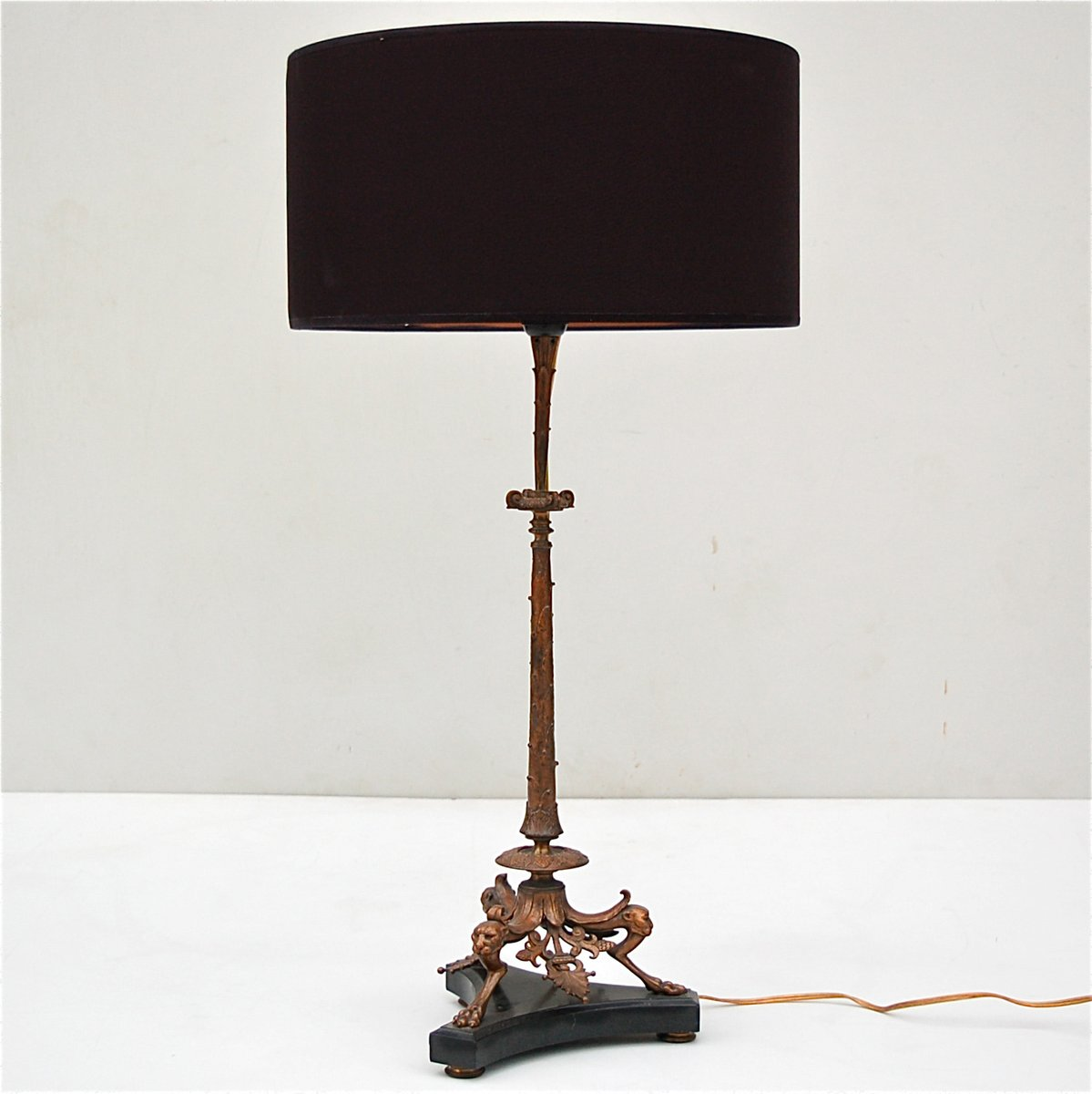 Bronze table lamp with panther heads on black marble base 19th bronze table lamp with panther heads on black marble base 19th century aloadofball Image collections