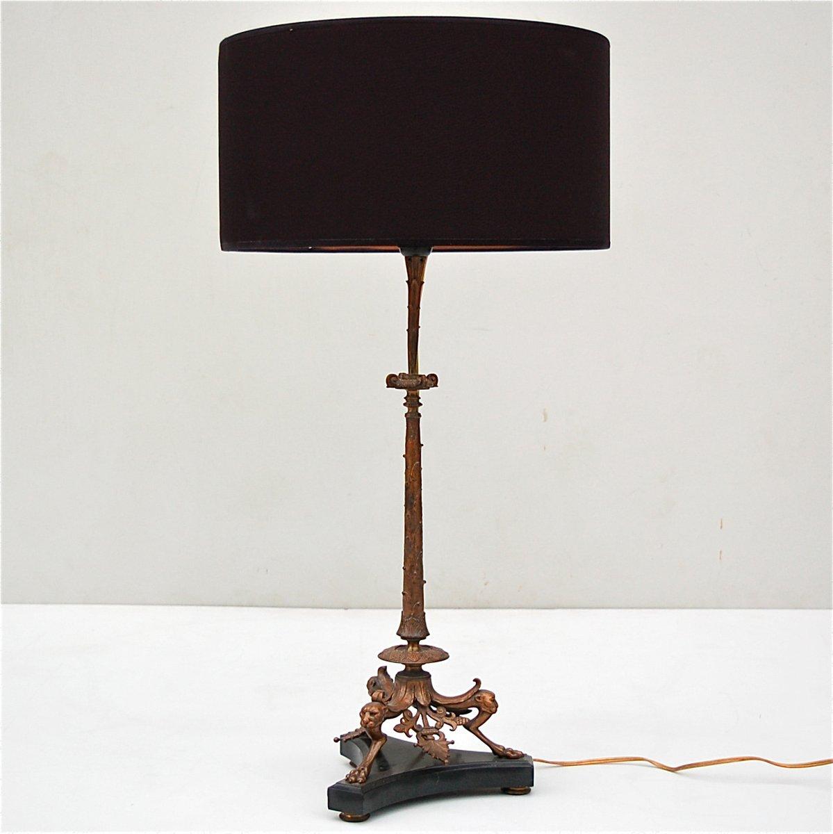 Bronze Tischlampe mit Panther Köpfen auf Schwarzem Marmorfuß, 19. Jhdt...