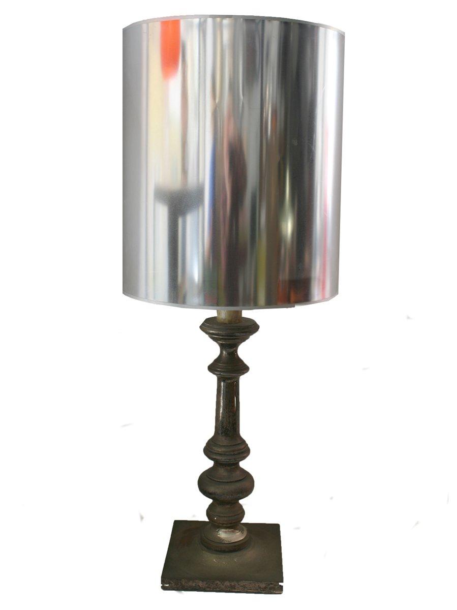 Vintage Kerzen Lampe mit Silberschirm