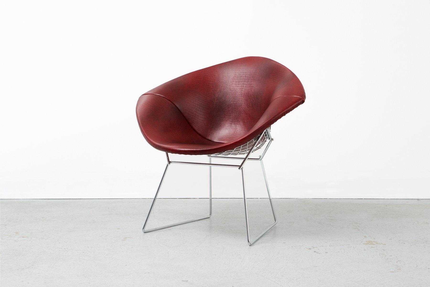Diamond Chair aus Kunstleder von Harry Bertoia für Knoll, 1970er
