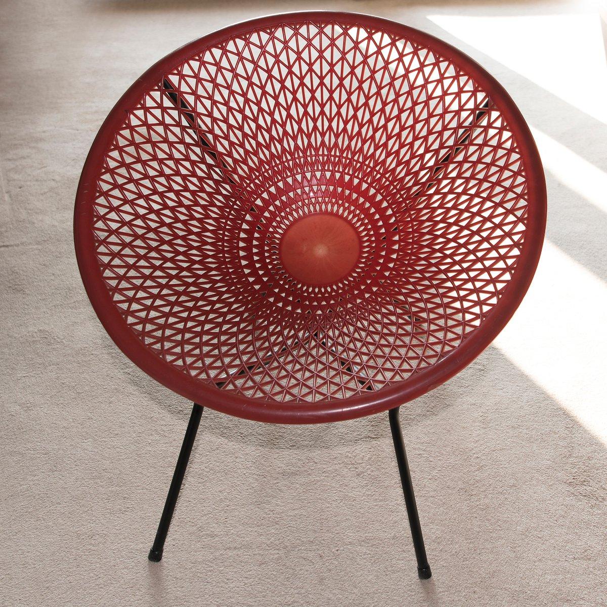 Lehnstuhl aus rotem Kunststoff von Fantasia, 1960er