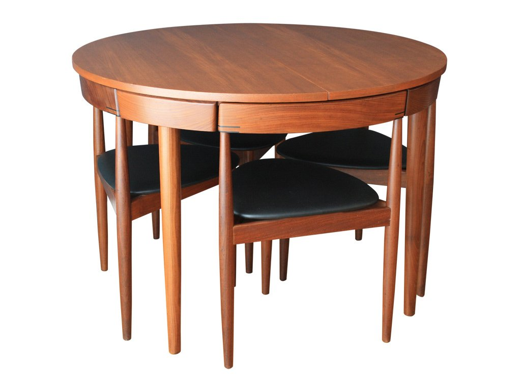 extendable dining table with six chairs by hans olsen for. Black Bedroom Furniture Sets. Home Design Ideas