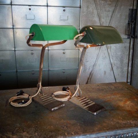 Grüne Art Déco Schreibtischlampe