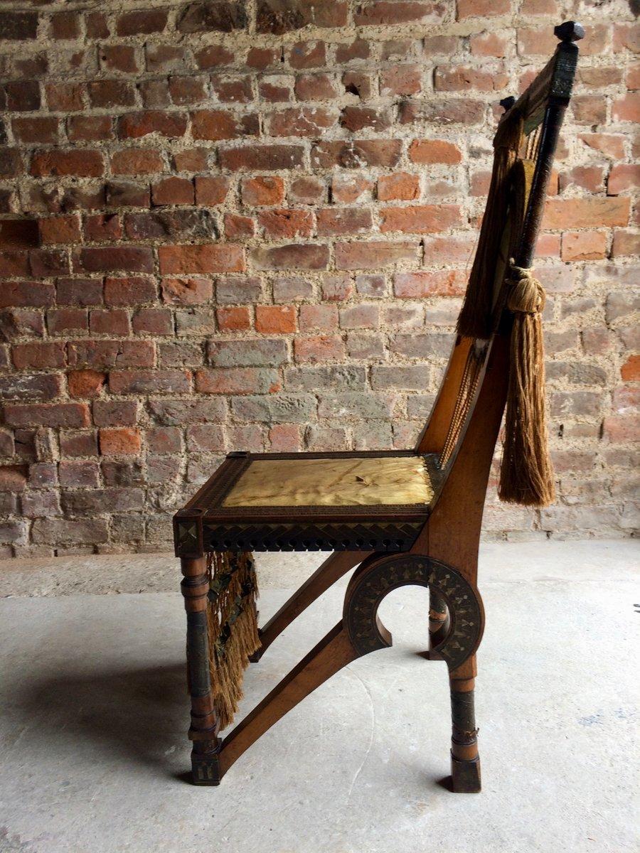 chaise d 39 appoint en noyer cuivre par carlo bugatti. Black Bedroom Furniture Sets. Home Design Ideas