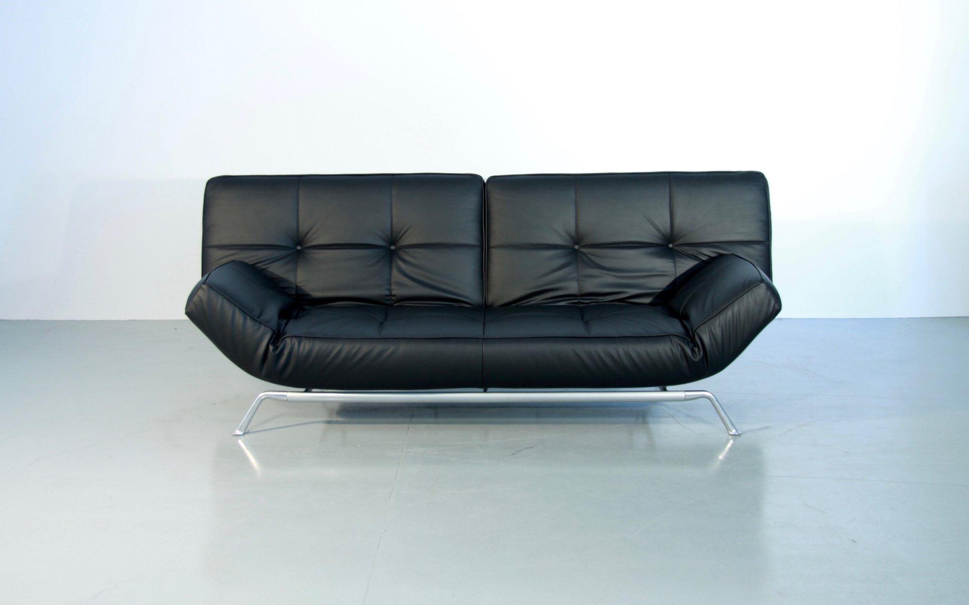 Verstellbares Vintage Smala Schlafsofa aus Schwarzem Leder von Pascal ...