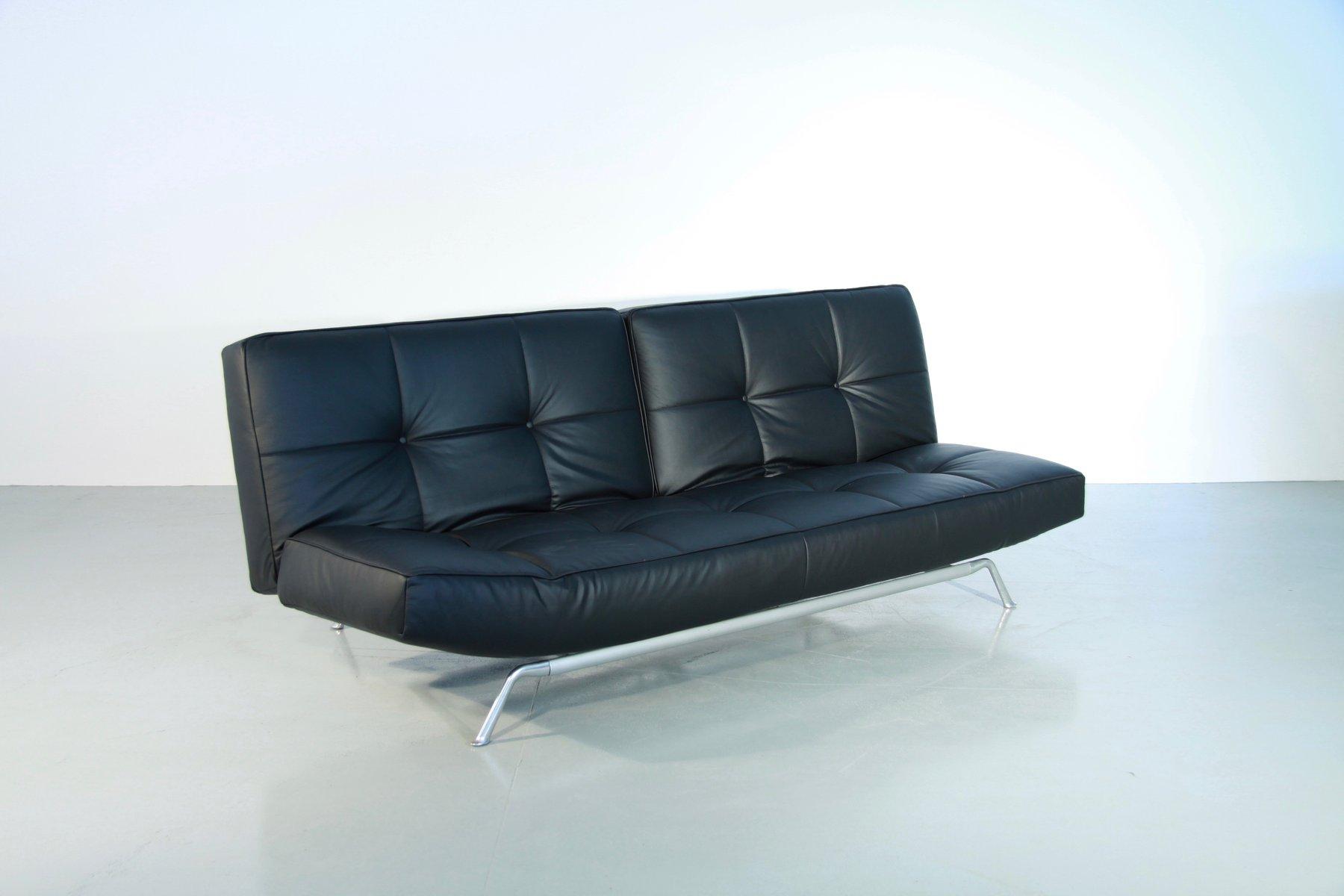 canap lit vintage smala noir en cuir ajustable par pascal mourgue pour ligne roset en vente sur. Black Bedroom Furniture Sets. Home Design Ideas
