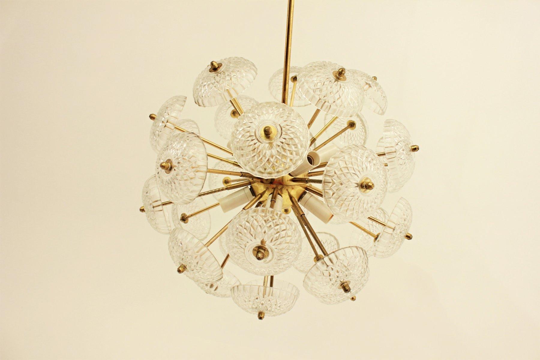 Tschechoslowakische Sputnik Dandelion Hängelampe aus Glas von Jaroslav...