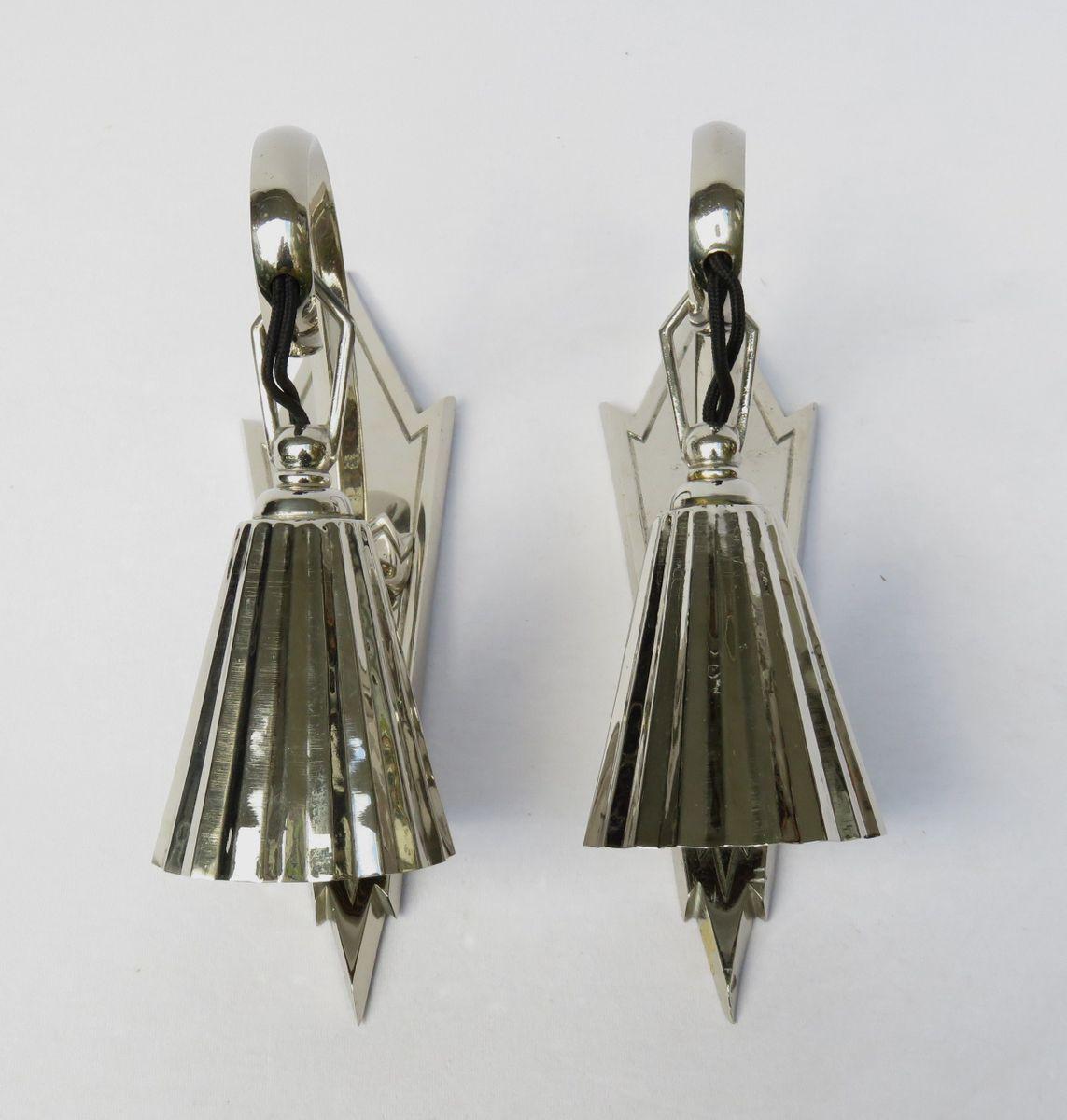 Antike Verchromte Wiener Jugendstil Wandlampen, 2er Set
