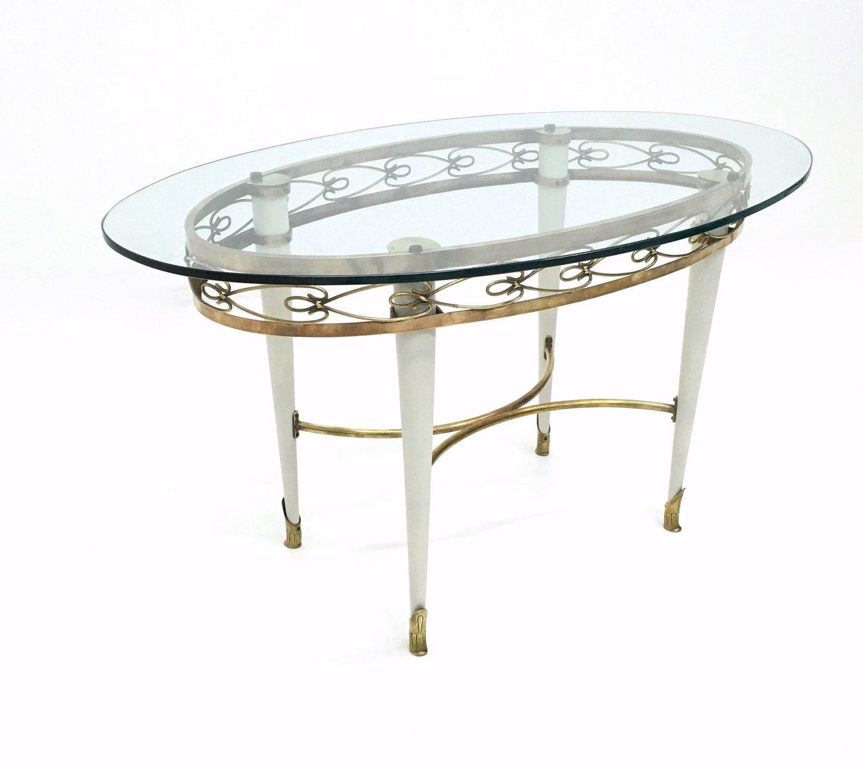Ovaler Glas Couchtisch mit Messing Motiv, 1950er
