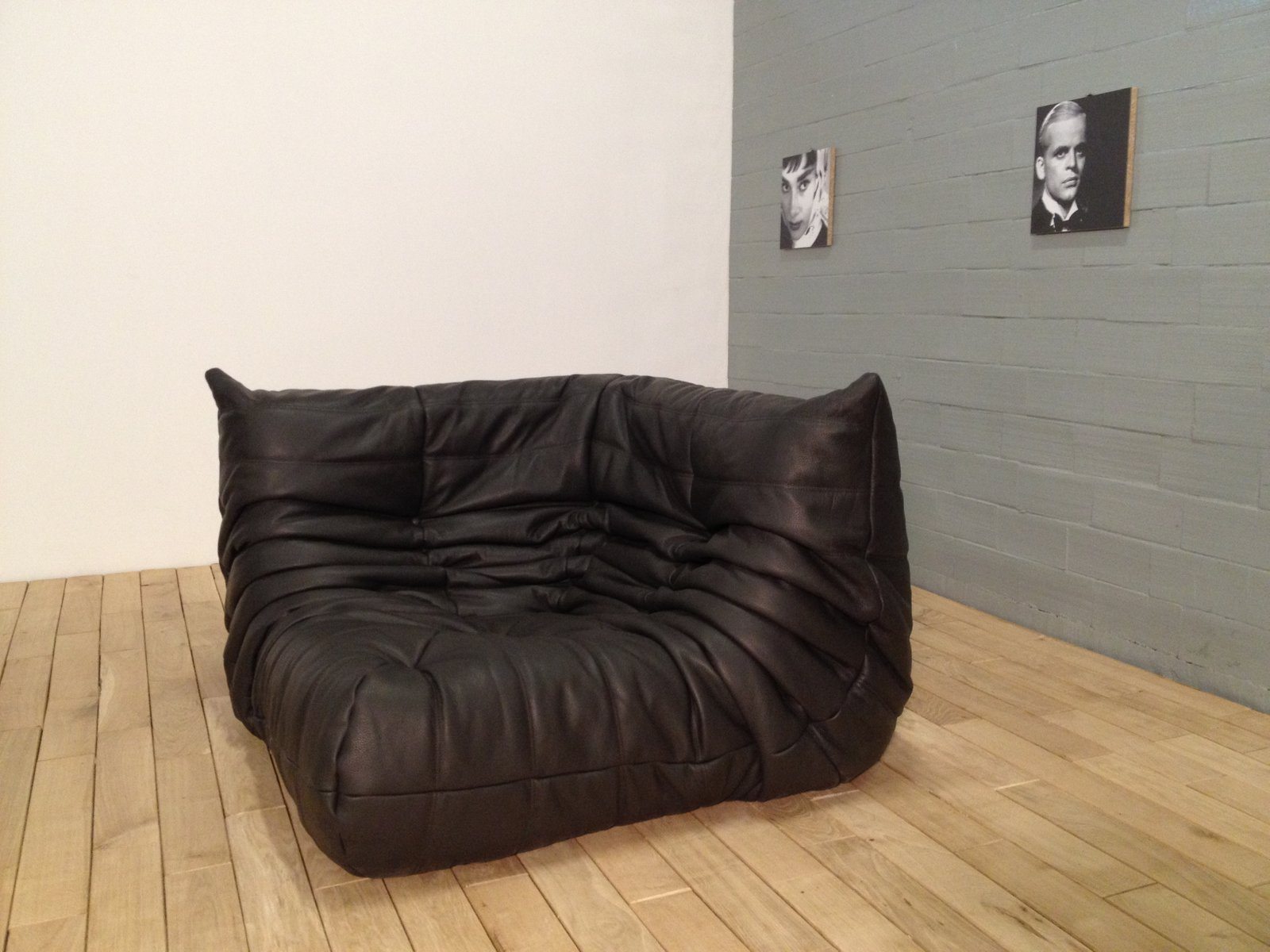 chocolate brown leather togo sofa set by michel ducaroy. Black Bedroom Furniture Sets. Home Design Ideas