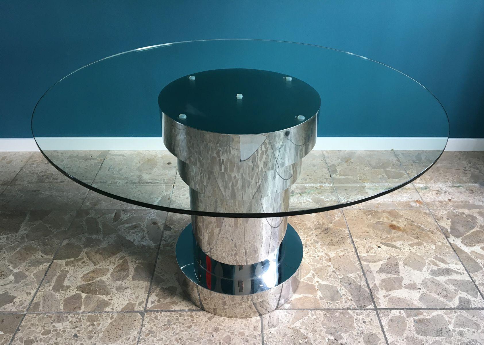 Runder Italienischer Esstisch aus Glas & Metall, 1980er