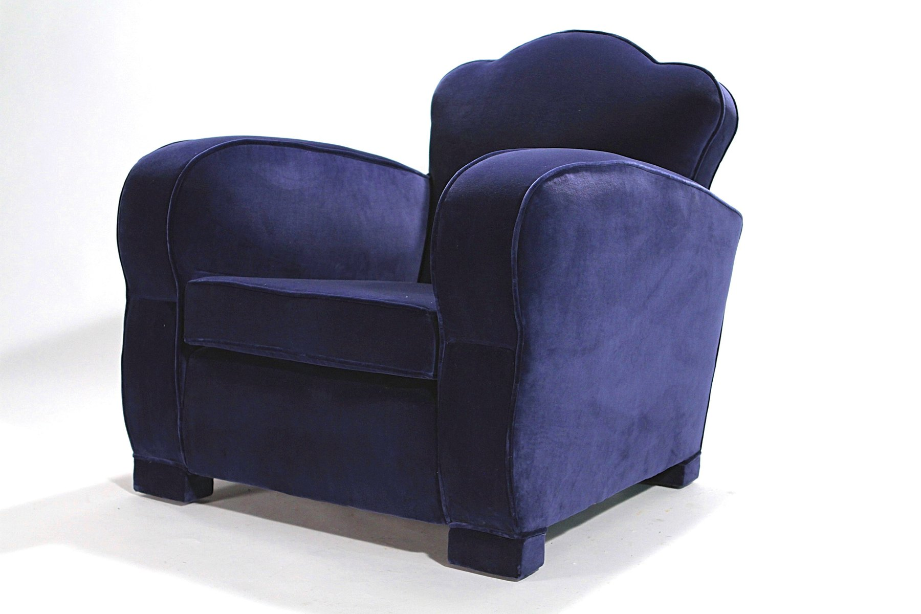 blue velvet club chairs 1940s set of 2 for sale at pamono. Black Bedroom Furniture Sets. Home Design Ideas