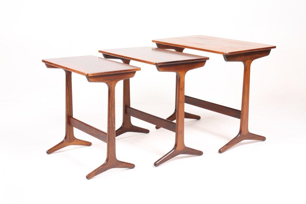 Mid Century Danish Rectangular Rosewood Nesting Tables, Set Of 3
