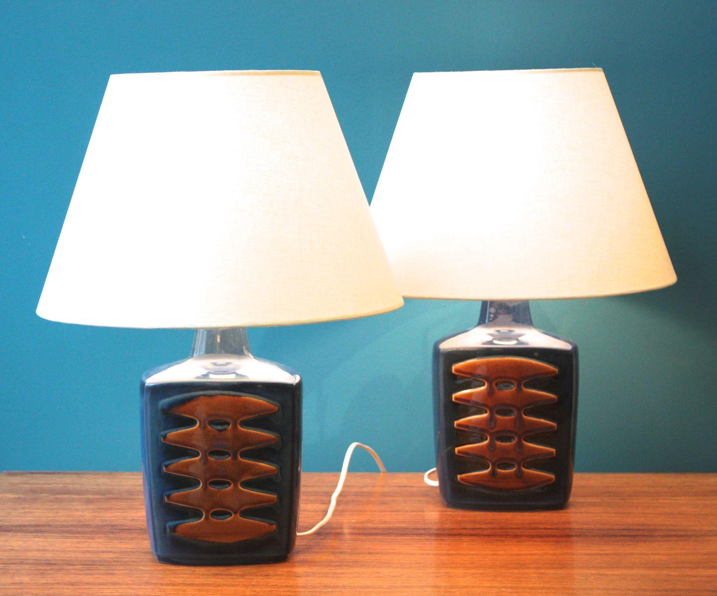 Große dänische Vintage Tischlampen in Blau von Einar Johansen für Soho...