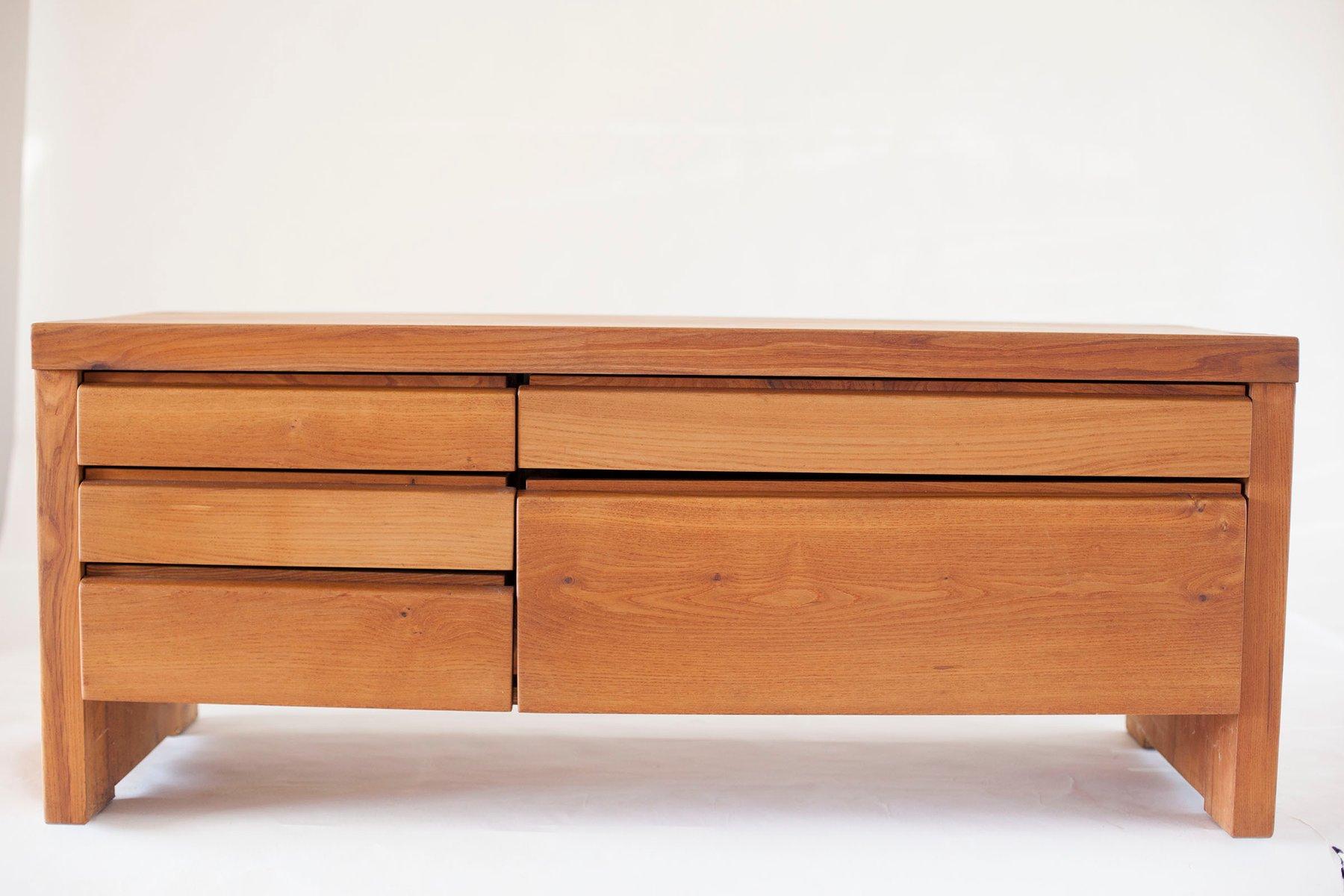 Niedrige R14A Kommode mit Fünf Schubladen von Pierre Chapo, 1960er