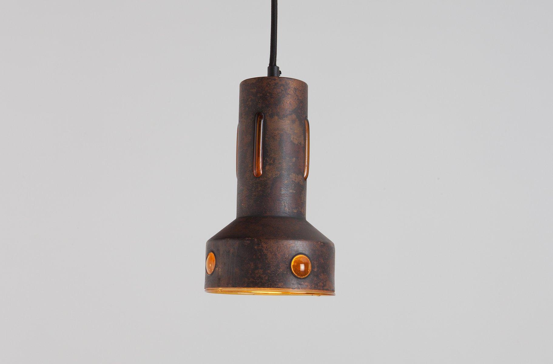Vintage Hängelampe aus Kupfer & Glas