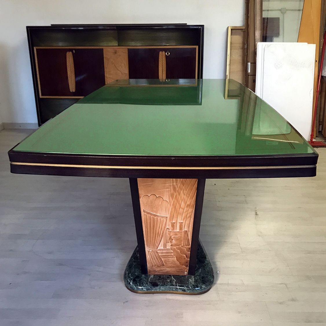 Table Top 1955: Italian Rosewood Dining Table With Green Top By Vittorio