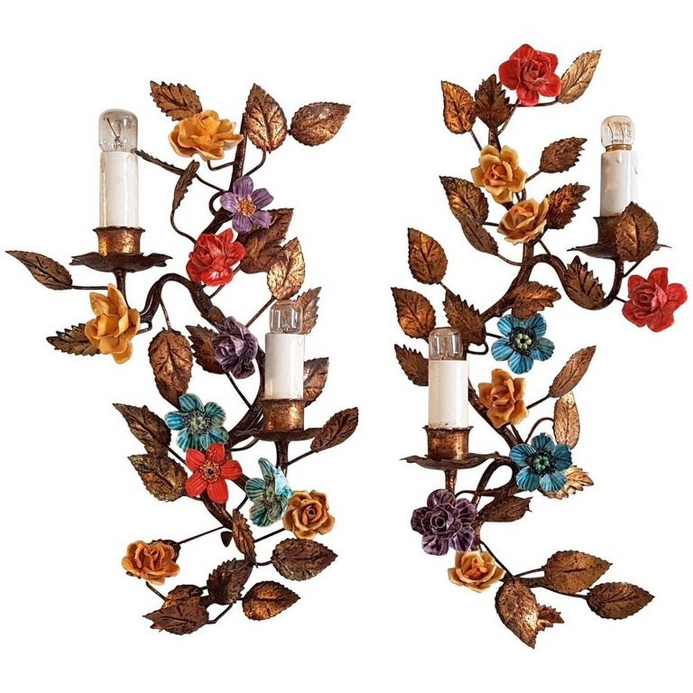 Florale italienische Eisen Wandleuchten, 1950er, 2er Set