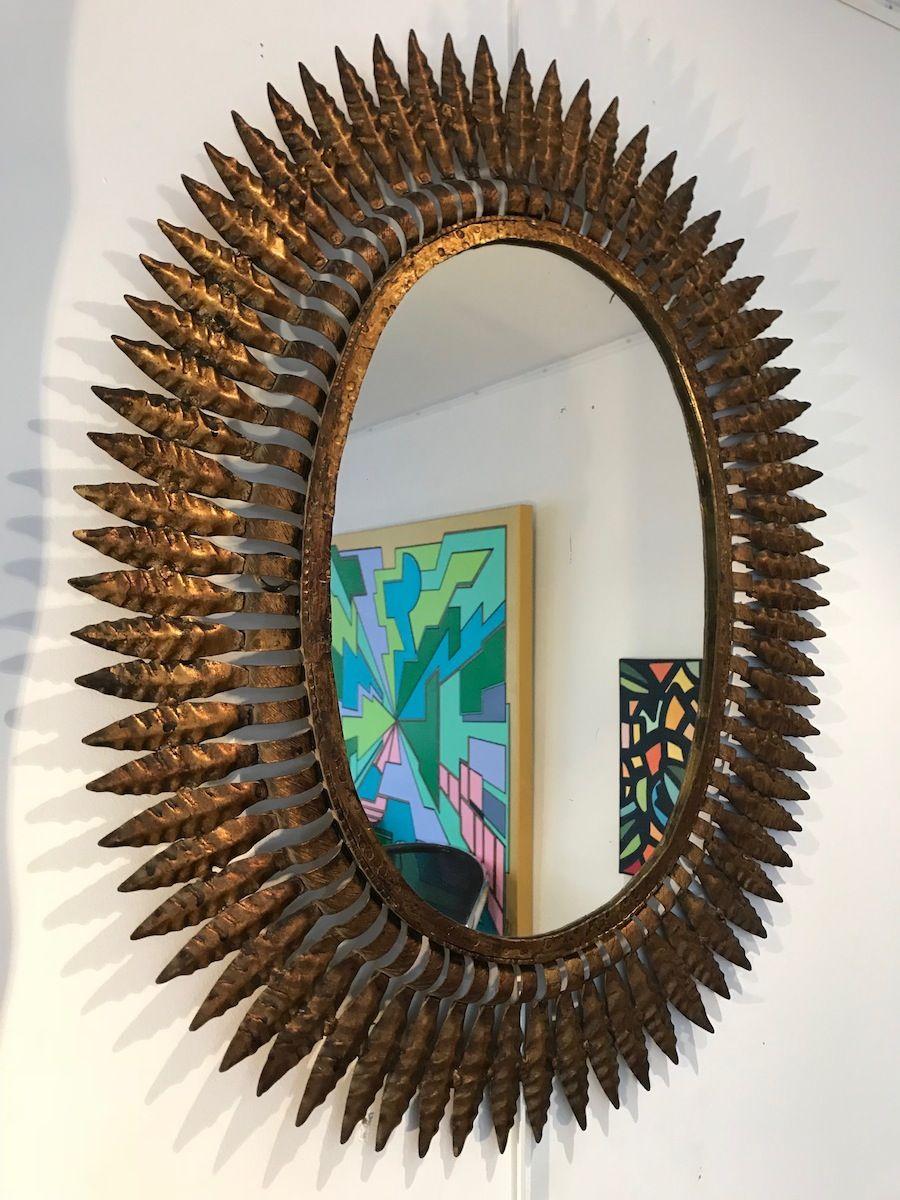 miroir sunburst en m tal dor 1950s en vente sur pamono. Black Bedroom Furniture Sets. Home Design Ideas