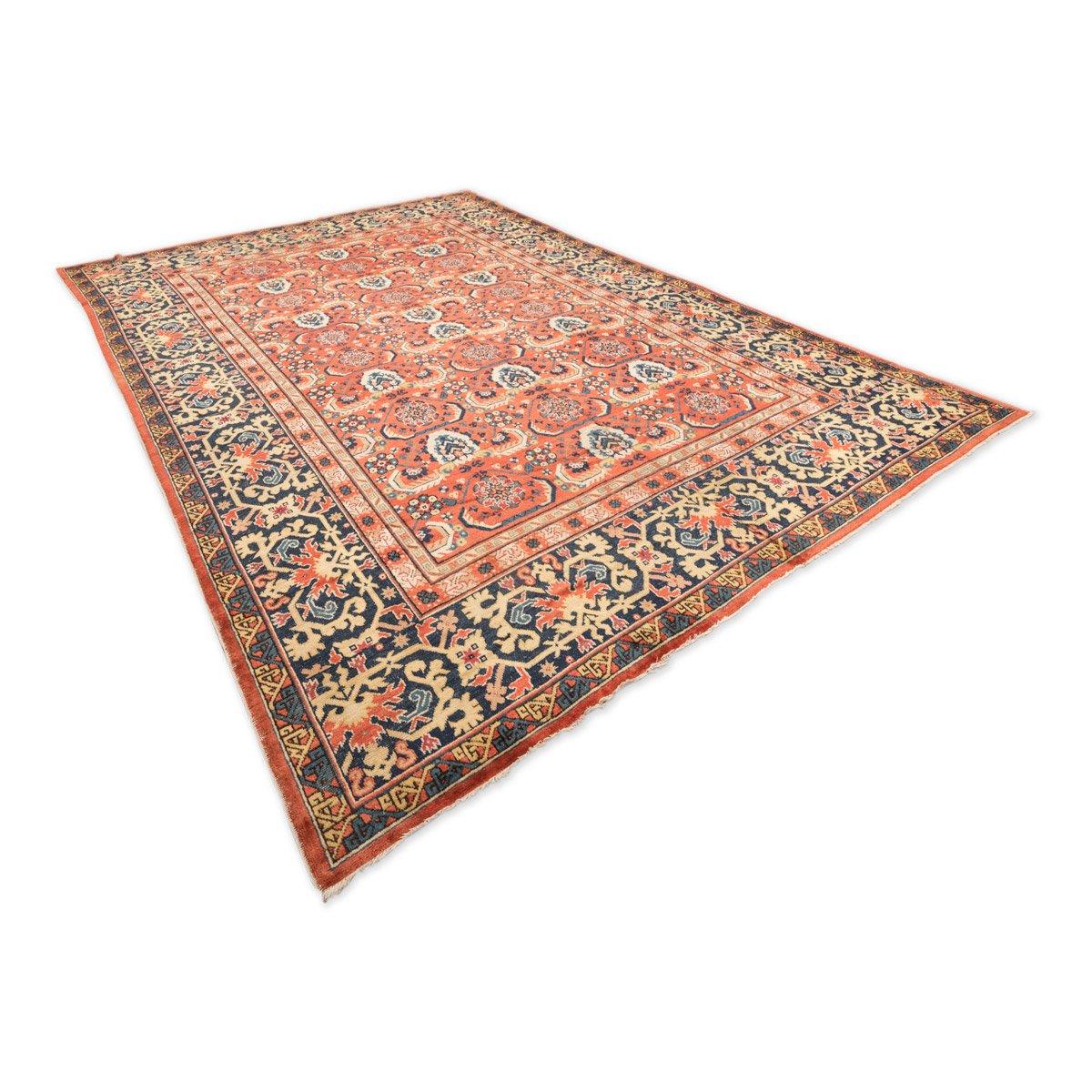 antiker t rkischer teppich mit gei bockhorn geometrischem muster bei pamono kaufen. Black Bedroom Furniture Sets. Home Design Ideas