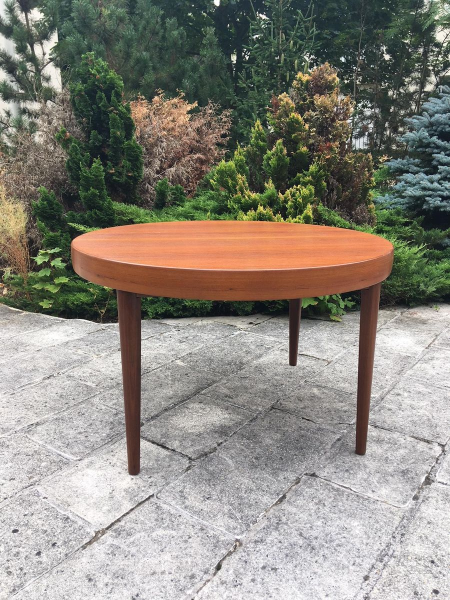 round teak dining table 1960s for sale at pamono. Black Bedroom Furniture Sets. Home Design Ideas