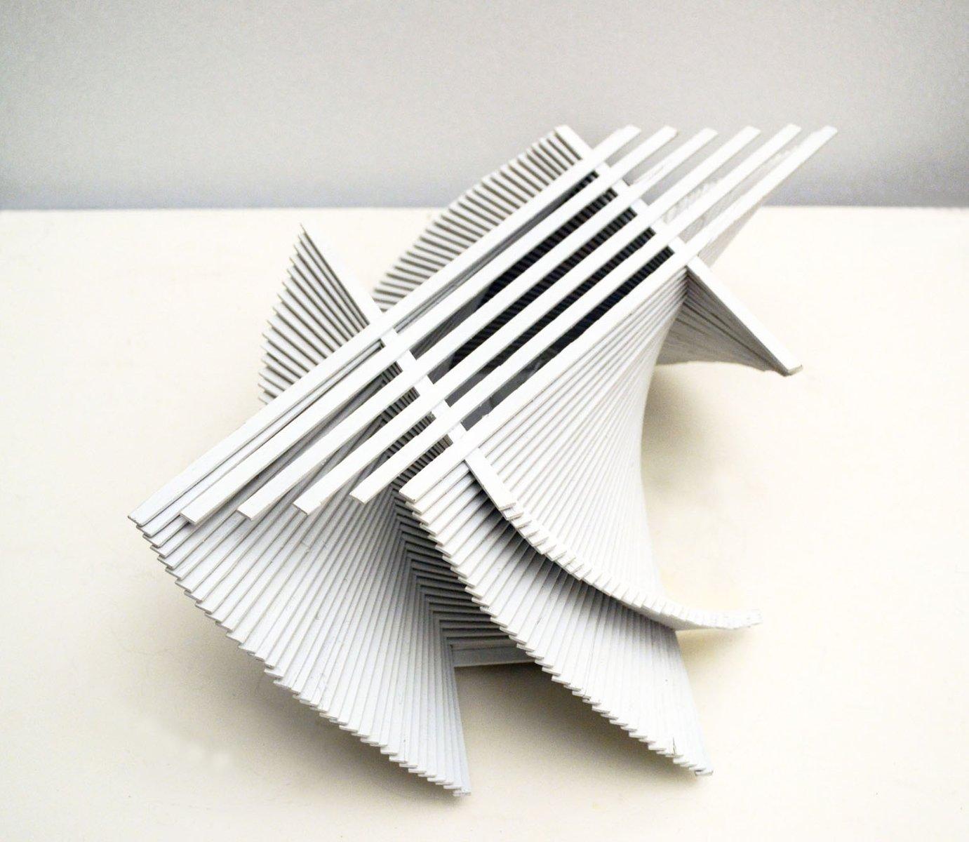 Skulpturale Prototyp Tischlampe aus Bemaltem Holz, 1970er
