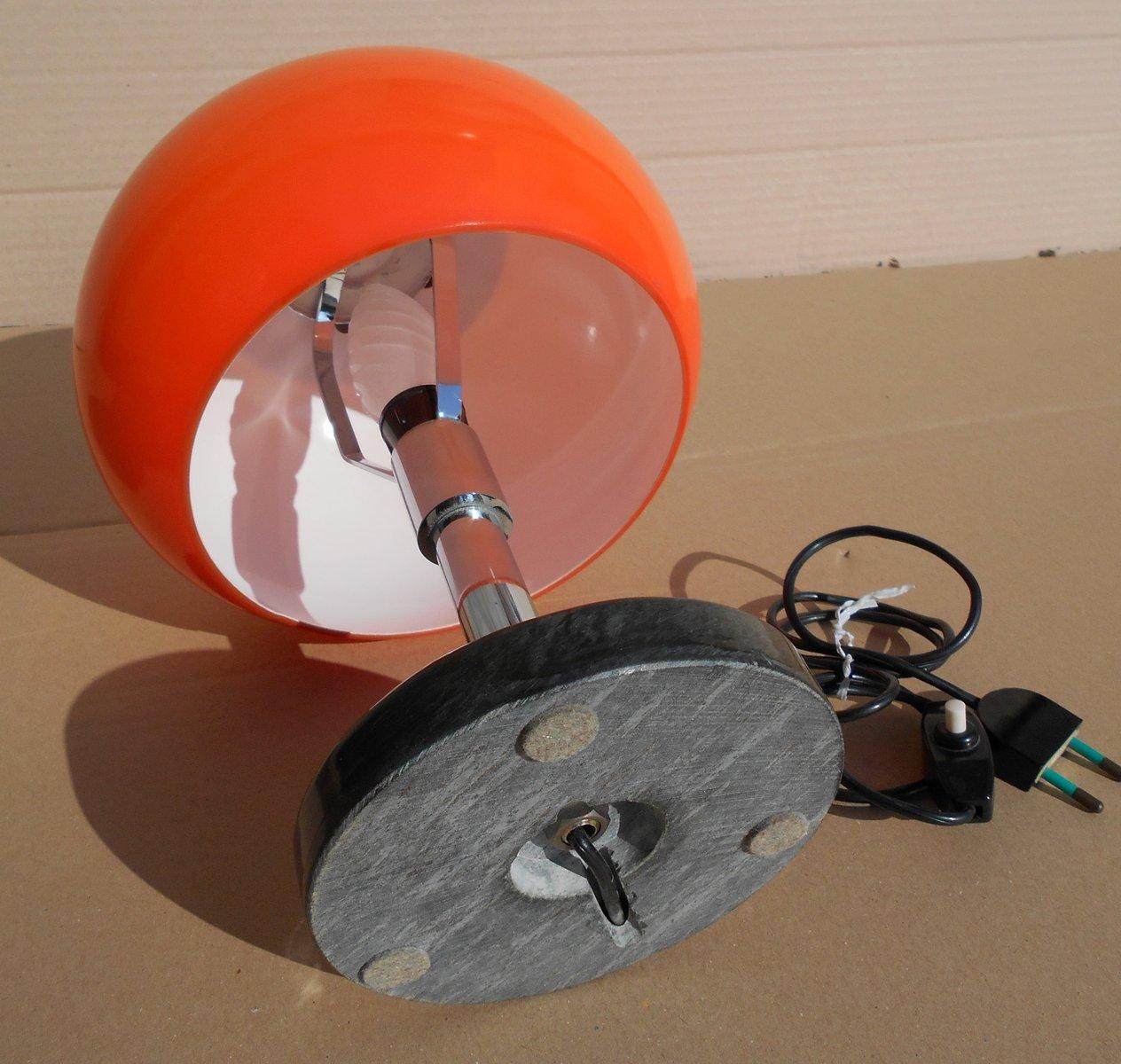 Lampada da tavolo arancione con base in marmo nero anni 39 50 in vendita su pamono - Base lampada da tavolo ...