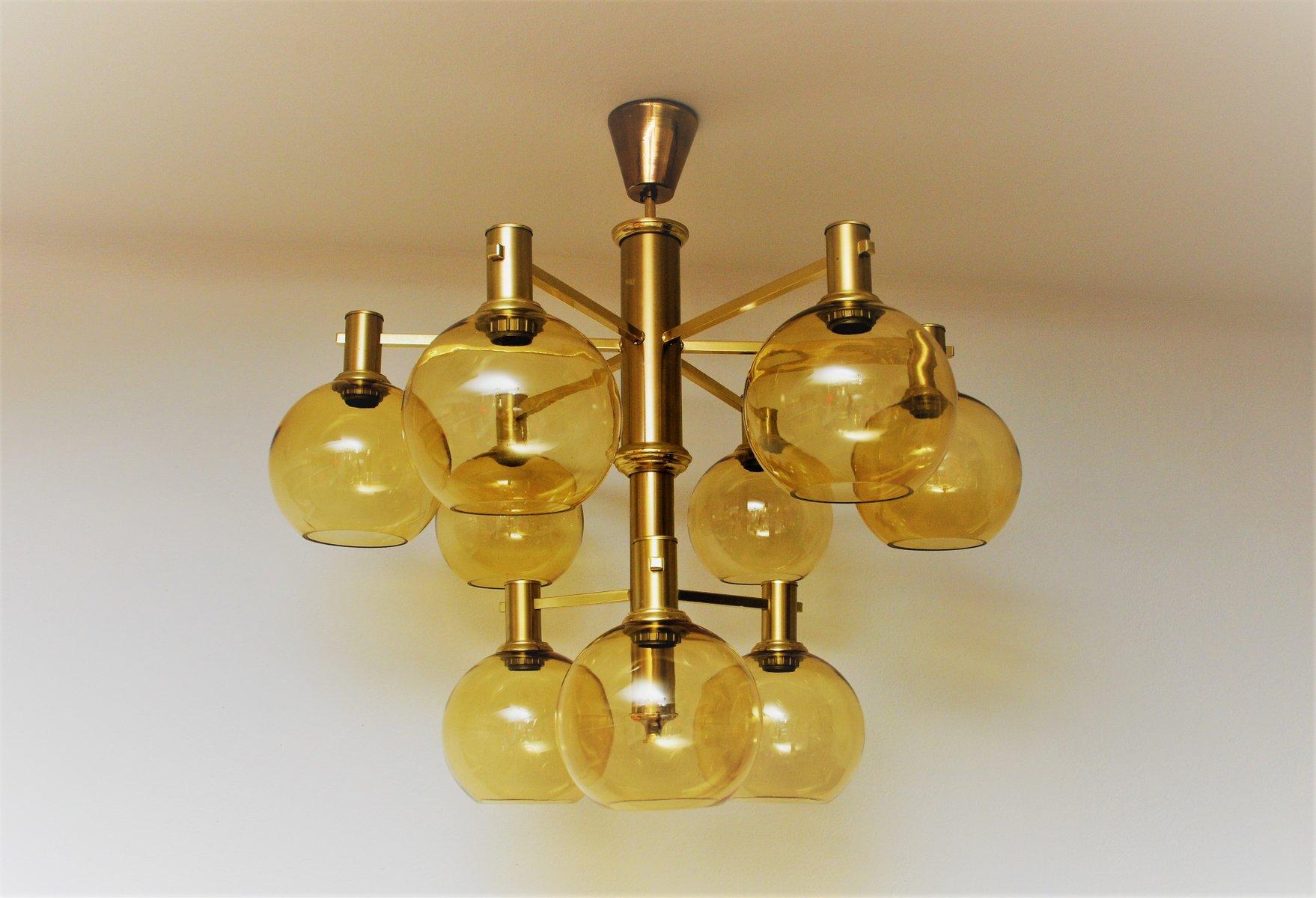 Große schwedische Vintage Deckenlampe aus Messing & Glas, 1960er
