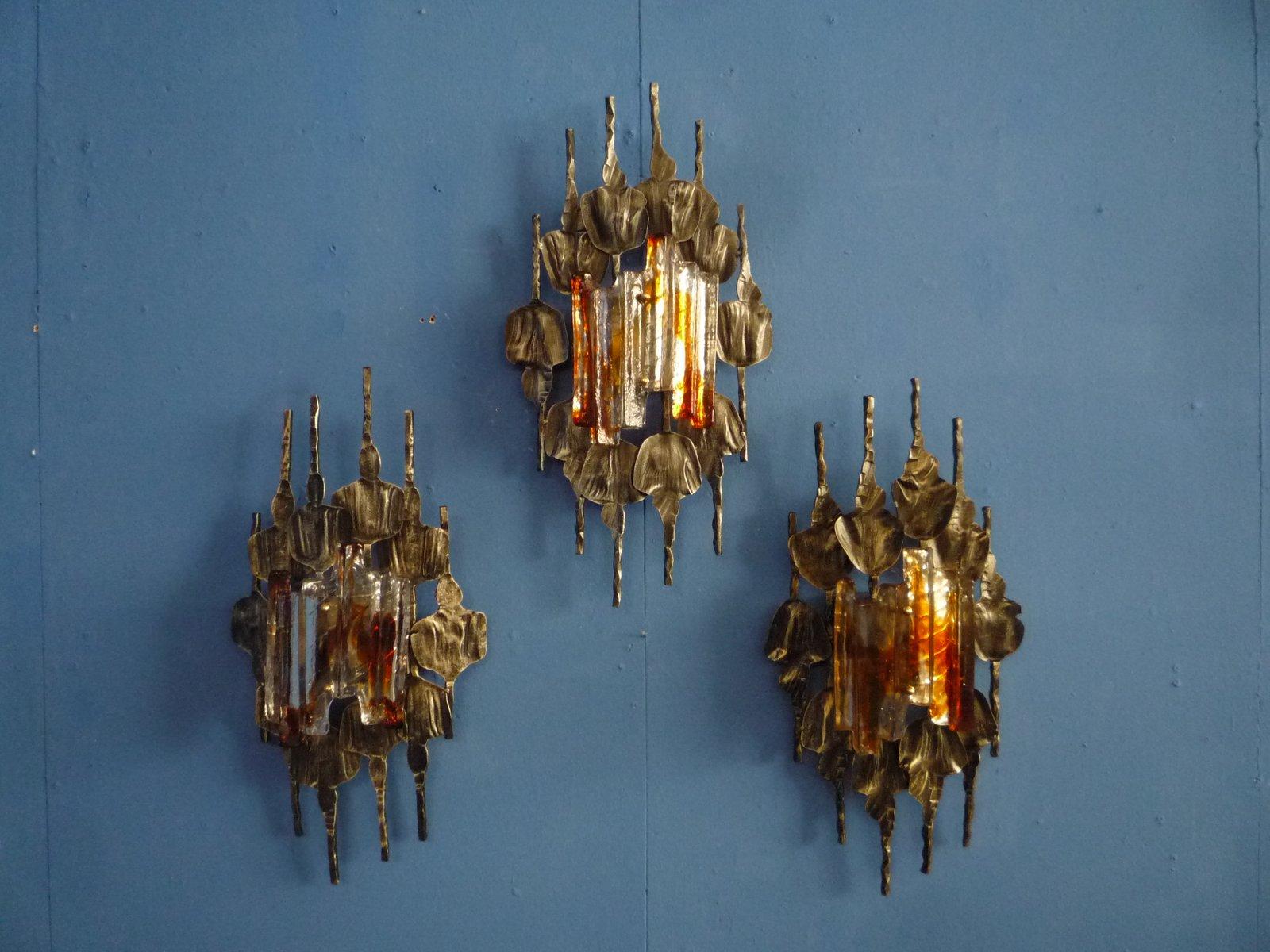 Brutalistische Wandlampen, 1960er, 3er Set