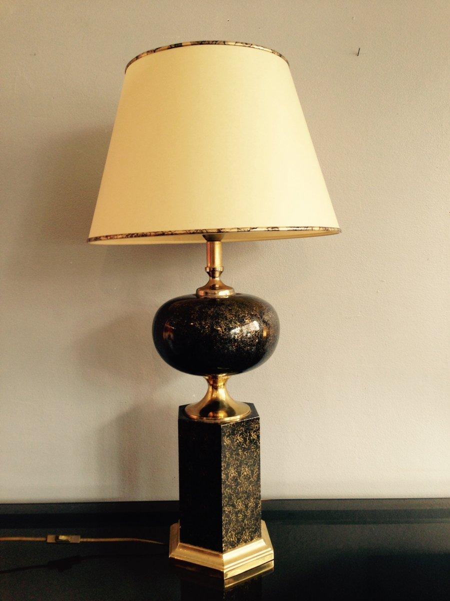 Schwarz-Goldene Tischlampe aus Frankreich, 1970er