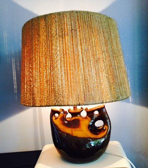 Französische Tischlampe mit Seil-Lampenschirm, 1950er