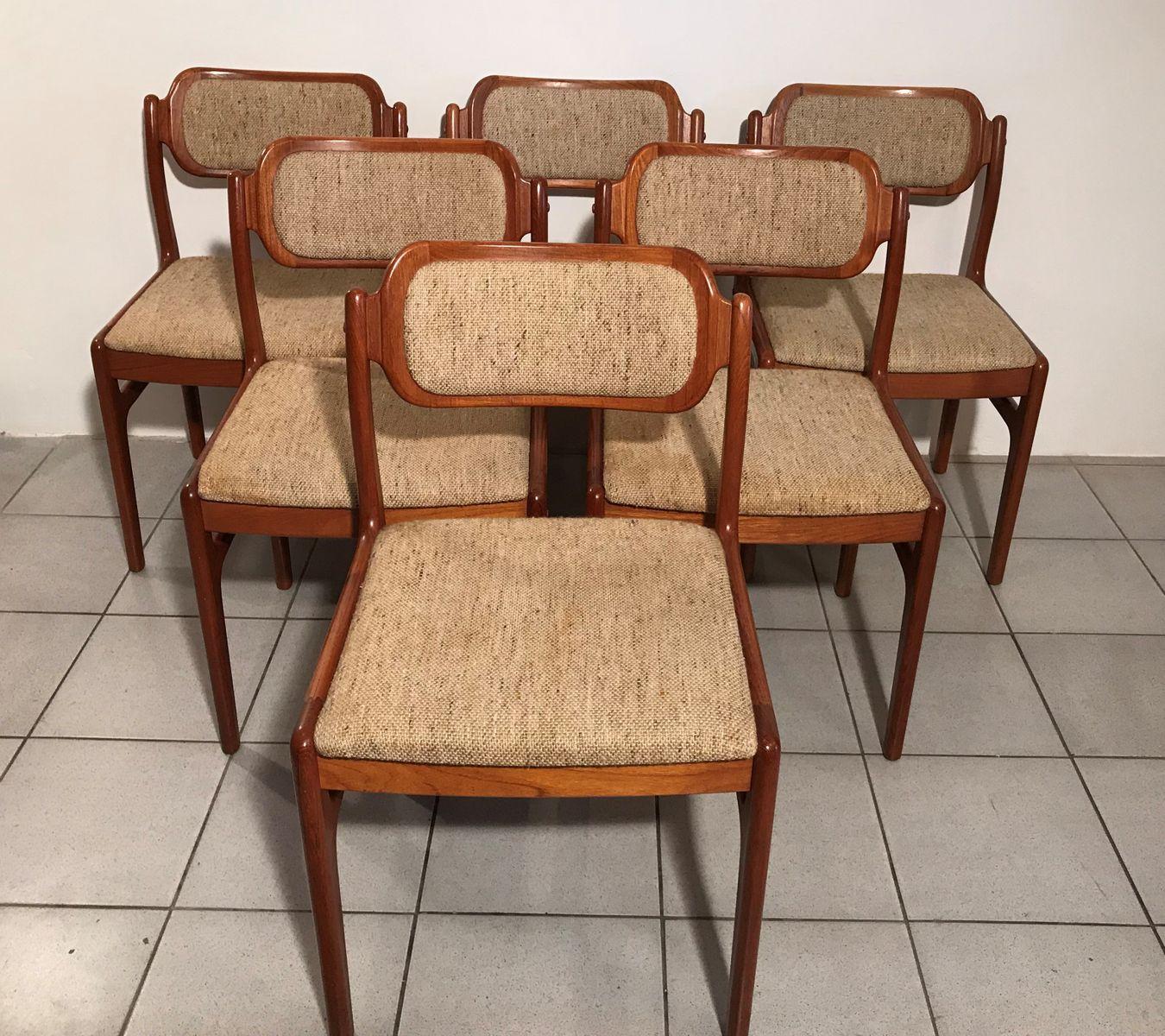 chaises en teck par johannes andersen pour uldum 1960s set de 6 en vente sur pamono. Black Bedroom Furniture Sets. Home Design Ideas