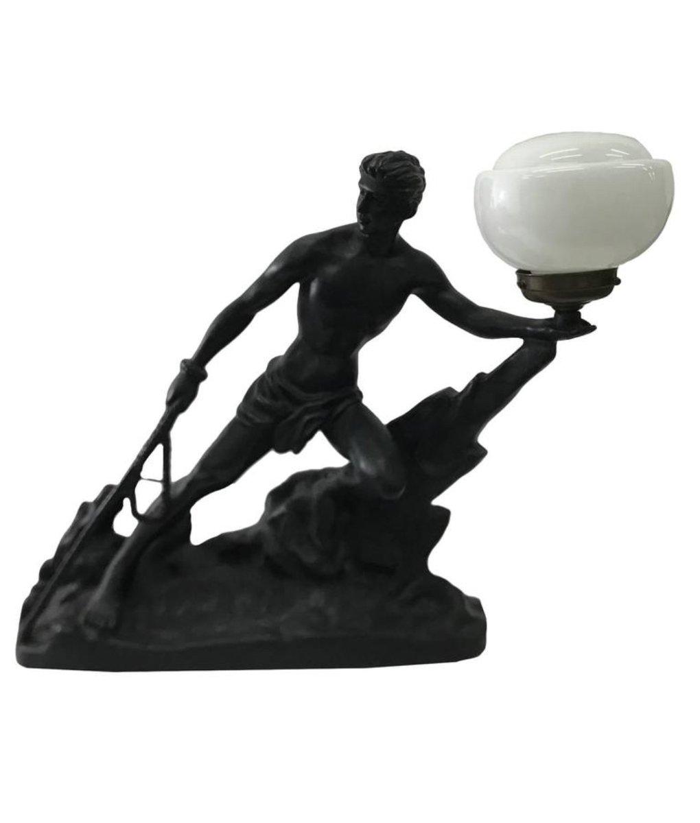 Französische Art Deco Harz & Opalglas Tischlampe, 1930er