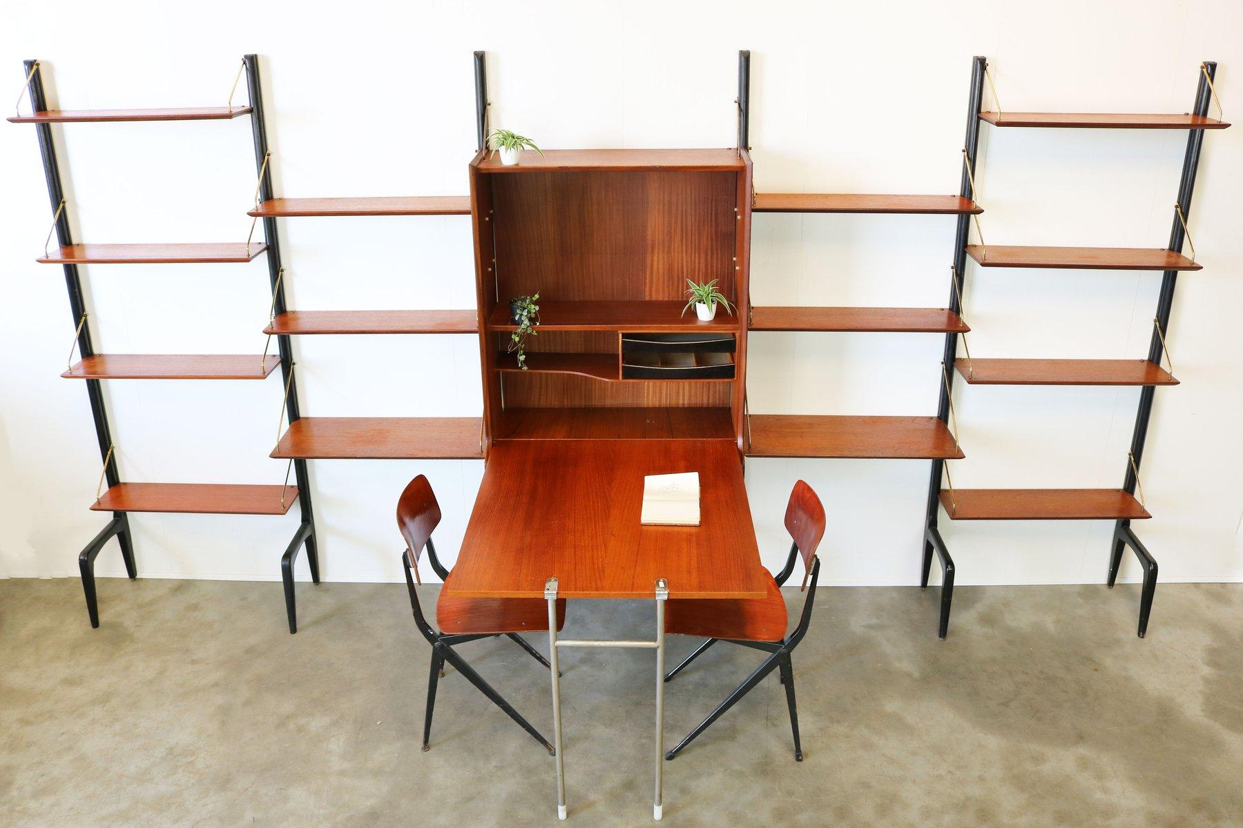 gro es wandregal aus teak messing mit schreibtisch von louis van teeffelen f r w be 1950er. Black Bedroom Furniture Sets. Home Design Ideas