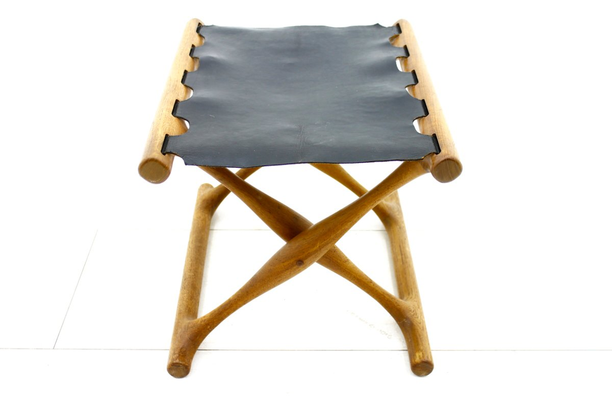 PH 43 Folding Stool in Teak and Leather by Poul Hundevad, 1950s for ...