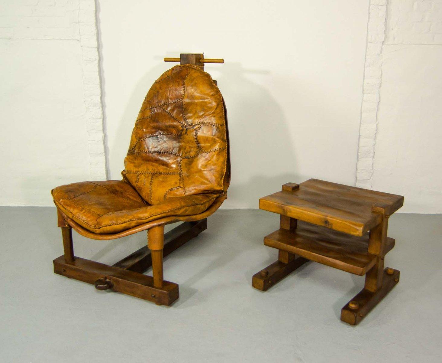 brasilianischer patchwork leder sessel mit tisch 1960er bei pamono kaufen. Black Bedroom Furniture Sets. Home Design Ideas