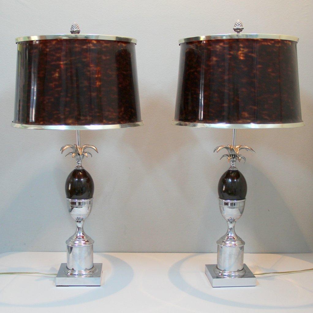 Stählerne Vintage Schreibtischlampen von Maison Charles, 2er Set